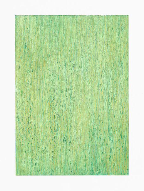 """Erstes Grün"" April 2012 (Mühlenberg, HVL) Ölpastelle auf Papier, 42 x 30 cm"