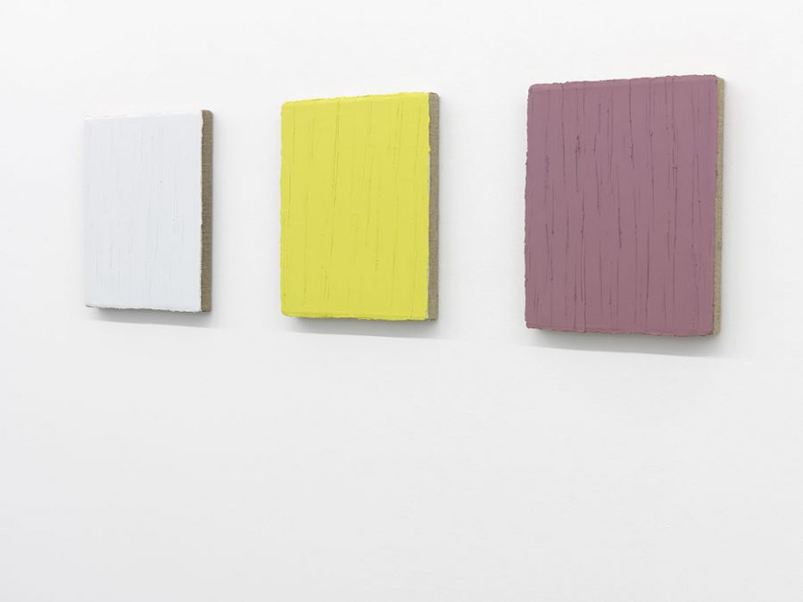 """Weiß-Gelb-Violett"" 2006-2008, 3 x Öl auf Leinwand, je 30 x 25 cm"