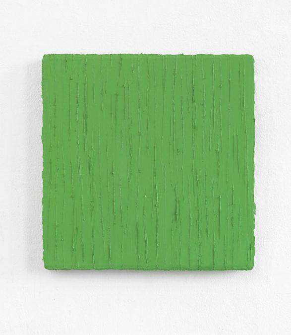 """""""Grasgrün"""" 2013, Serie: Widerschein I, Oel auf Leinwand, 50 x 50 cm"""