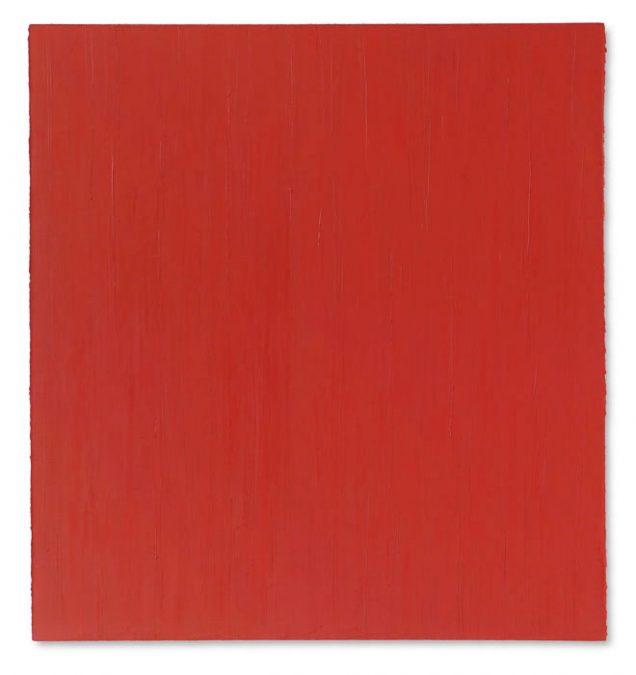 """""""Leuchtendes Rot"""" 2003, Öl auf Leinwand, 147 x 137 cm"""