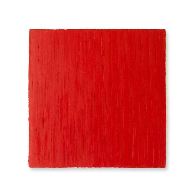 """O.T. (Rot) 2008, Öl auf Leinwand, 50 x 50 cm, Privatsammlung"