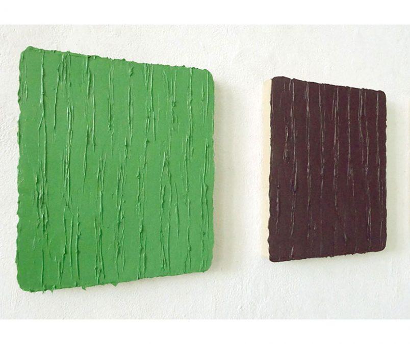 Seitenansicht: 2 x Öl auf Leinwand, 2017, je 31 x 26 cm