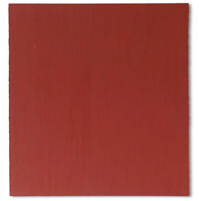 """Stumpfes Rot"" 2003, Öl auf Leinwand, 148 x 139 cm"