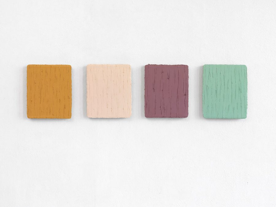 """Helles Ocker - Blaugrün"", 4 x Oel auf Leinwand, 2013, je 31 x 26 cm"